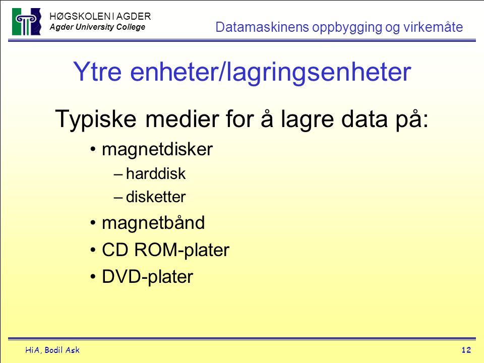 HØGSKOLEN I AGDER Agder University College HiA, Bodil Ask12 Datamaskinens oppbygging og virkemåte Ytre enheter/lagringsenheter Typiske medier for å la