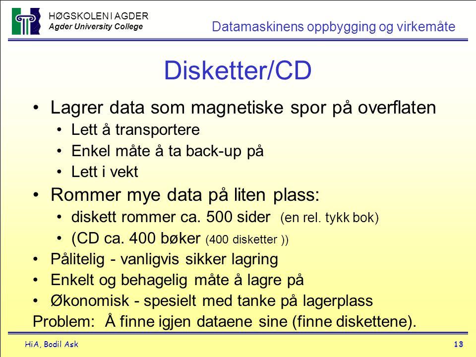 HØGSKOLEN I AGDER Agder University College HiA, Bodil Ask13 Datamaskinens oppbygging og virkemåte Disketter/CD •Lagrer data som magnetiske spor på ove