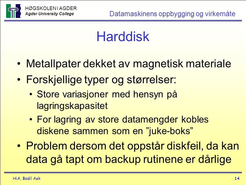 HØGSKOLEN I AGDER Agder University College HiA, Bodil Ask14 Datamaskinens oppbygging og virkemåte Harddisk •Metallpater dekket av magnetisk materiale