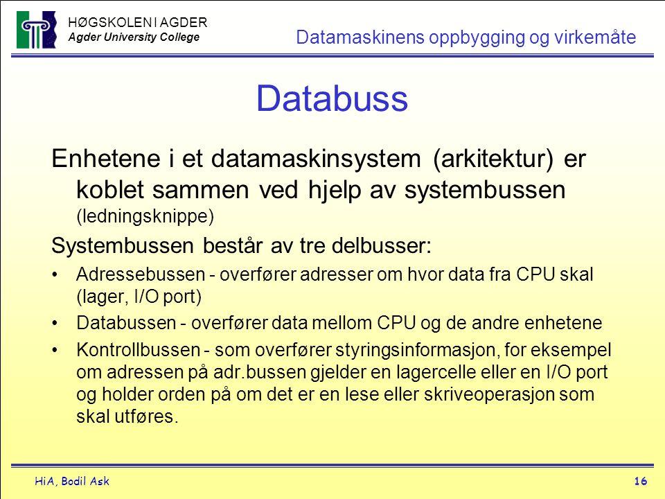 HØGSKOLEN I AGDER Agder University College HiA, Bodil Ask16 Datamaskinens oppbygging og virkemåte Databuss Enhetene i et datamaskinsystem (arkitektur)