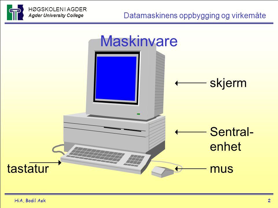 HØGSKOLEN I AGDER Agder University College HiA, Bodil Ask3 Datamaskinens oppbygging og virkemåte Hva er maskinvare .