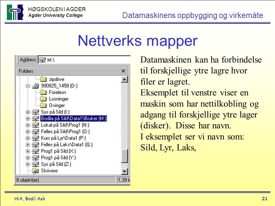 HØGSKOLEN I AGDER Agder University College HiA, Bodil Ask21 Datamaskinens oppbygging og virkemåte Nettverks mapper Datamaskinen kan ha forbindelse til
