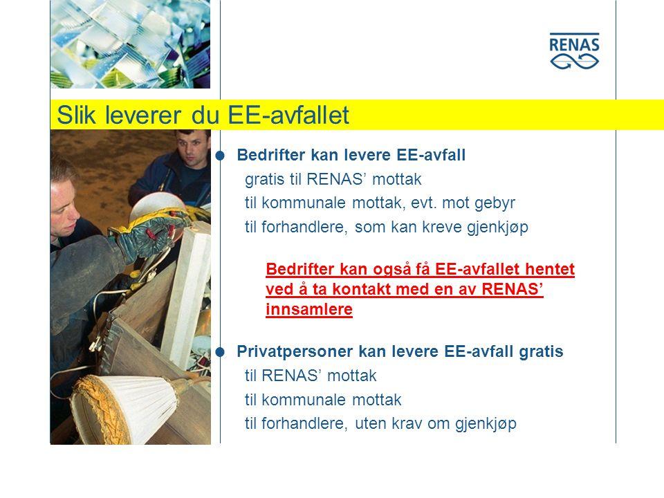 Slik leverer du EE-avfallet  Bedrifter kan levere EE-avfall gratis til RENAS' mottak til kommunale mottak, evt.