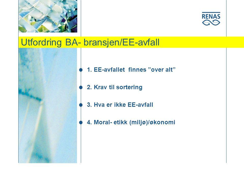 Utfordring BA- bransjen/EE-avfall  1.EE-avfallet finnes over alt  2.