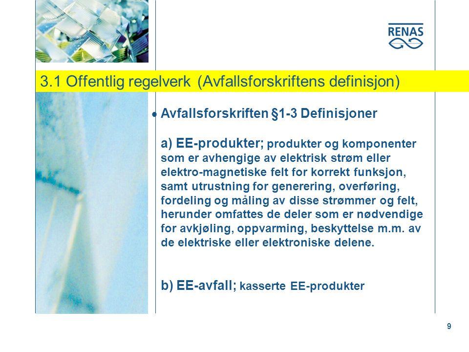 3.1 Offentlig regelverk (Avfallsforskriftens definisjon) 9  Avfallsforskriften §1-3 Definisjoner a) EE-produkter; produkter og komponenter som er avhengige av elektrisk strøm eller elektro-magnetiske felt for korrekt funksjon, samt utrustning for generering, overføring, fordeling og måling av disse strømmer og felt, herunder omfattes de deler som er nødvendige for avkjøling, oppvarming, beskyttelse m.m.