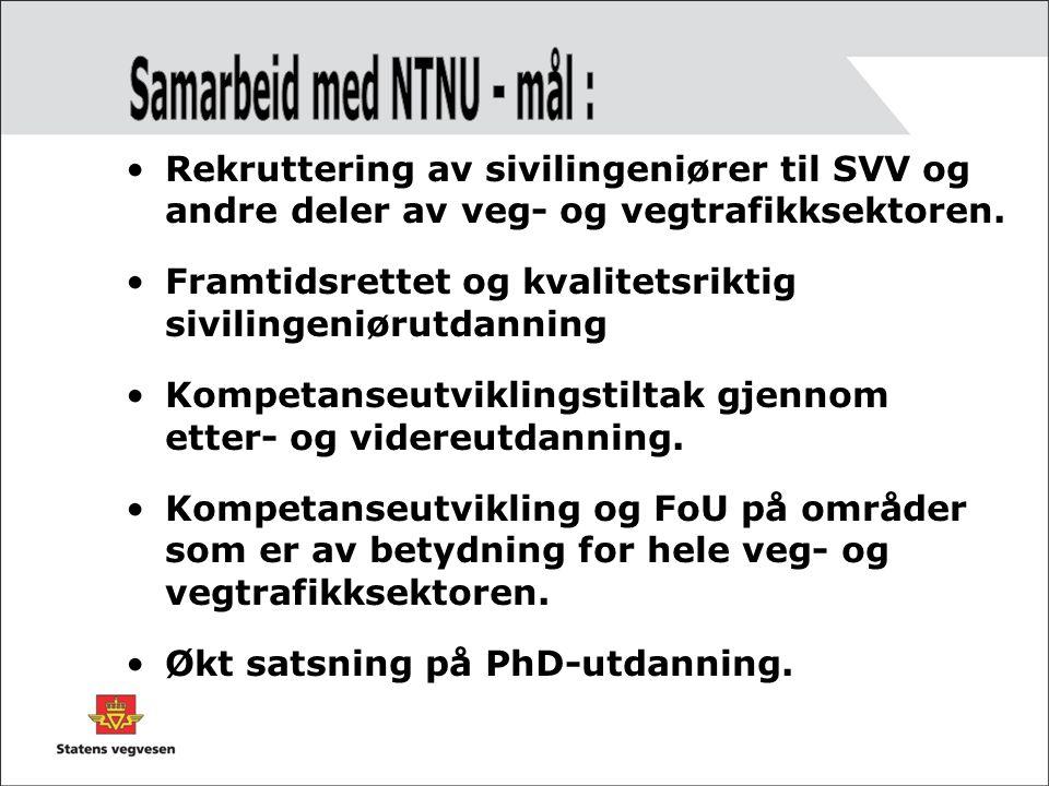 •Rekruttering av sivilingeniører til SVV og andre deler av veg- og vegtrafikksektoren.