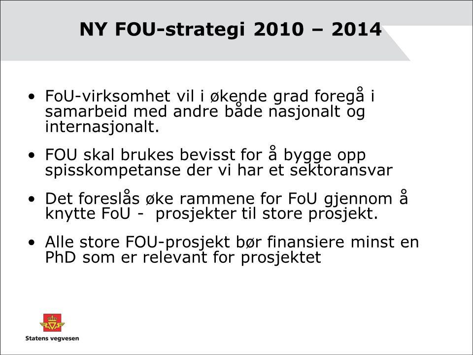 NY FOU-strategi 2010 – 2014 •FoU-virksomhet vil i økende grad foregå i samarbeid med andre både nasjonalt og internasjonalt.