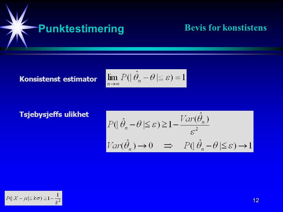 12 Punktestimering Konsistenst estimator Tsjebysjeffs ulikhet Bevis for konstistens