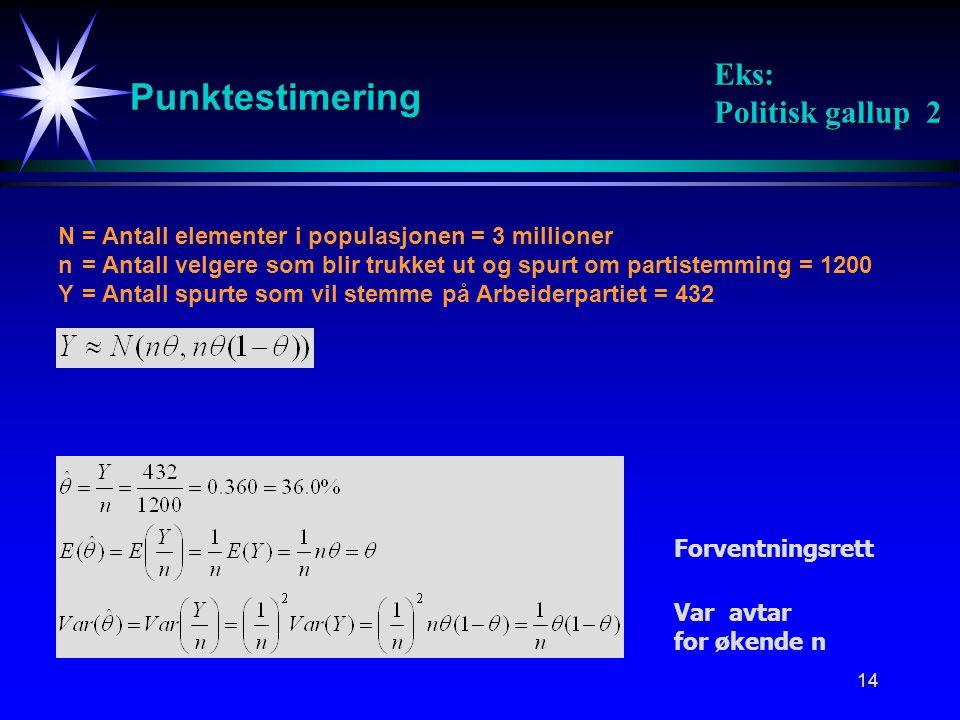14 Punktestimering Eks: Politisk gallup 2 N= Antall elementer i populasjonen = 3 millioner n = Antall velgere som blir trukket ut og spurt om partiste