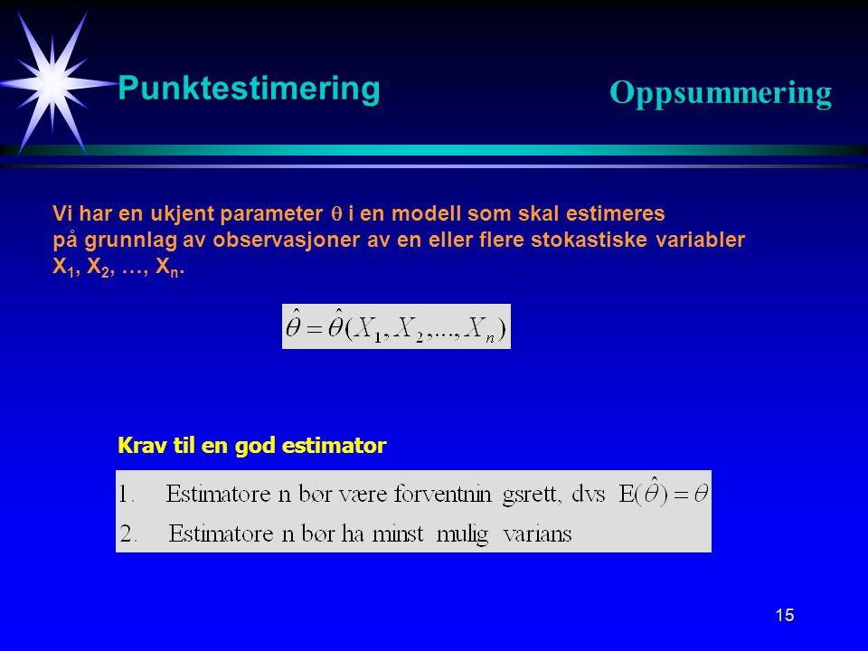 15 Punktestimering Oppsummering Vi har en ukjent parameter  i en modell som skal estimeres på grunnlag av observasjoner av en eller flere stokastiske variabler X 1, X 2, …, X n.