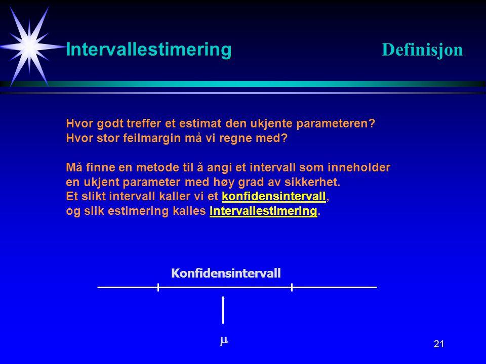 21 Intervallestimering Definisjon Hvor godt treffer et estimat den ukjente parameteren? Hvor stor feilmargin må vi regne med? Må finne en metode til å