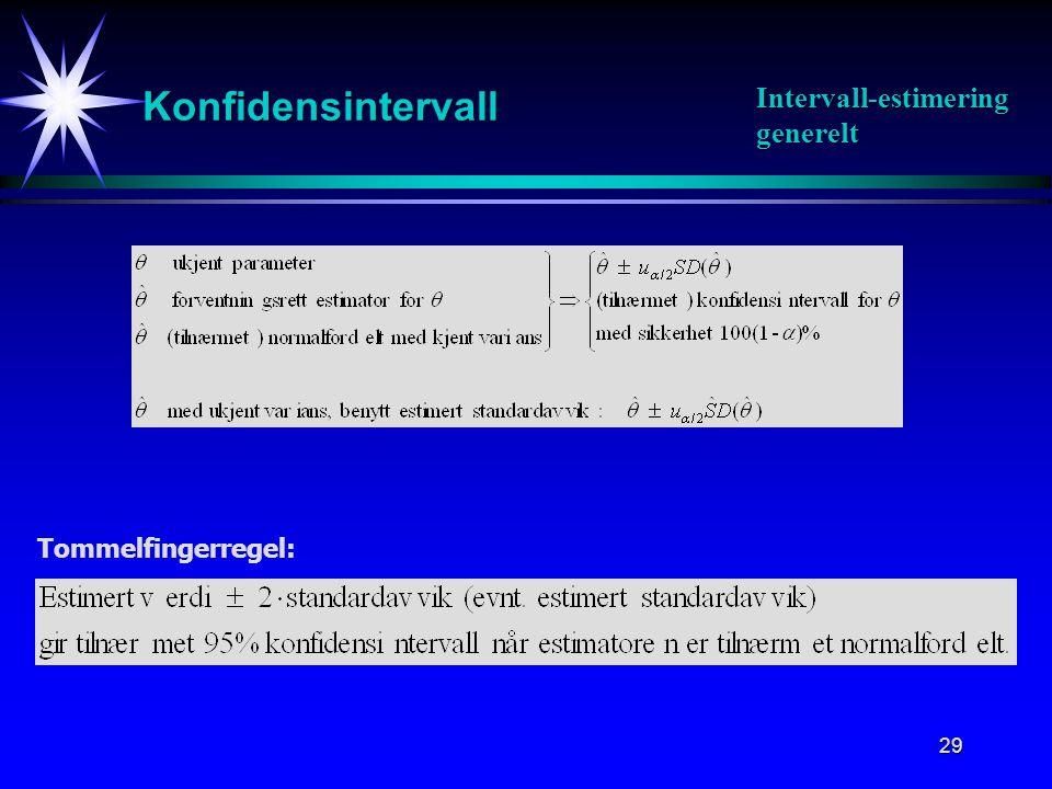 29 Konfidensintervall Intervall-estimering generelt Tommelfingerregel: