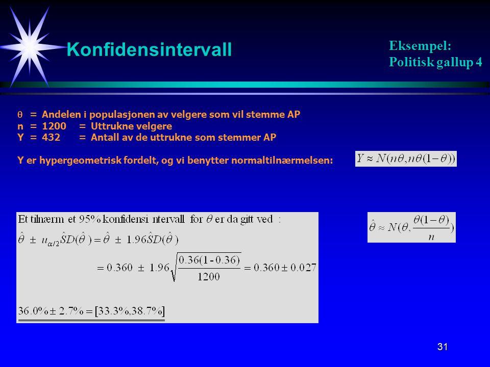 31 Konfidensintervall Eksempel: Politisk gallup 4  =Andelen i populasjonen av velgere som vil stemme AP n=1200=Uttrukne velgere Y=432=Antall av de uttrukne som stemmer AP Y er hypergeometrisk fordelt, og vi benytter normaltilnærmelsen: