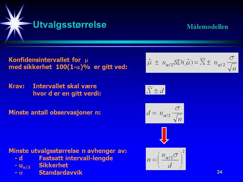 34 Utvalgsstørrelse Målemodellen Konfidensintervallet for  med sikkerhet 100(1-  )% er gitt ved: Krav: Intervallet skal være hvor d er en gitt verdi: Minste antall observasjoner n: Minste utvalgsstørrelse n avhenger av: - dFastsatt intervall-lengde - u  /2 Sikkerhet -  Standardavvik