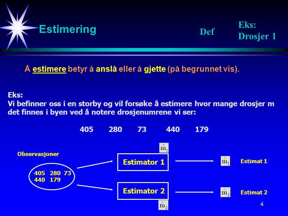 4 Estimering Å estimere betyr å anslå eller å gjette (på begrunnet vis).