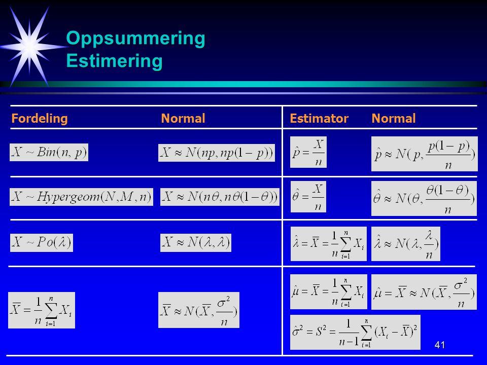 41 Oppsummering Estimering Fordeling Normal Estimator Normal