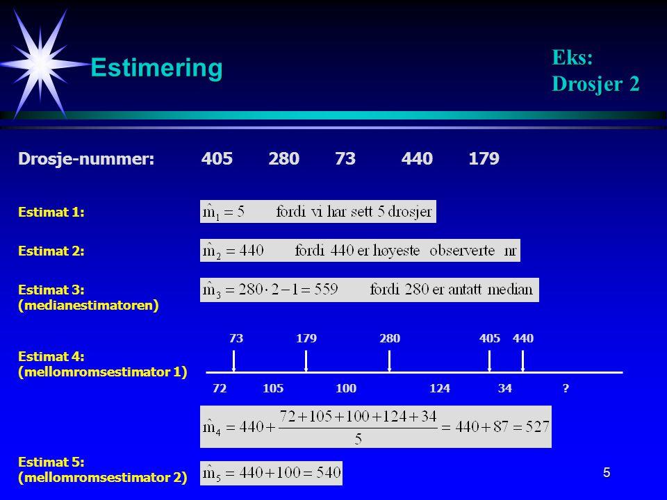 5 Estimering Drosje-nummer:40528073440179 Estimat 1: Estimat 2: Estimat 4: (mellomromsestimator 1) 73179280405440 72105 100124 34? Estimat 3: (mediane