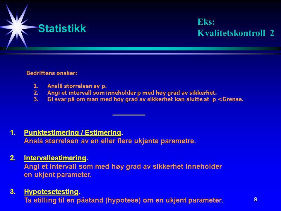 9 Statistikk Bedriftens ønsker: 1.Anslå størrelsen av p. 2.Angi et intervall som inneholder p med høy grad av sikkerhet. 3.Gi svar på om man med høy g