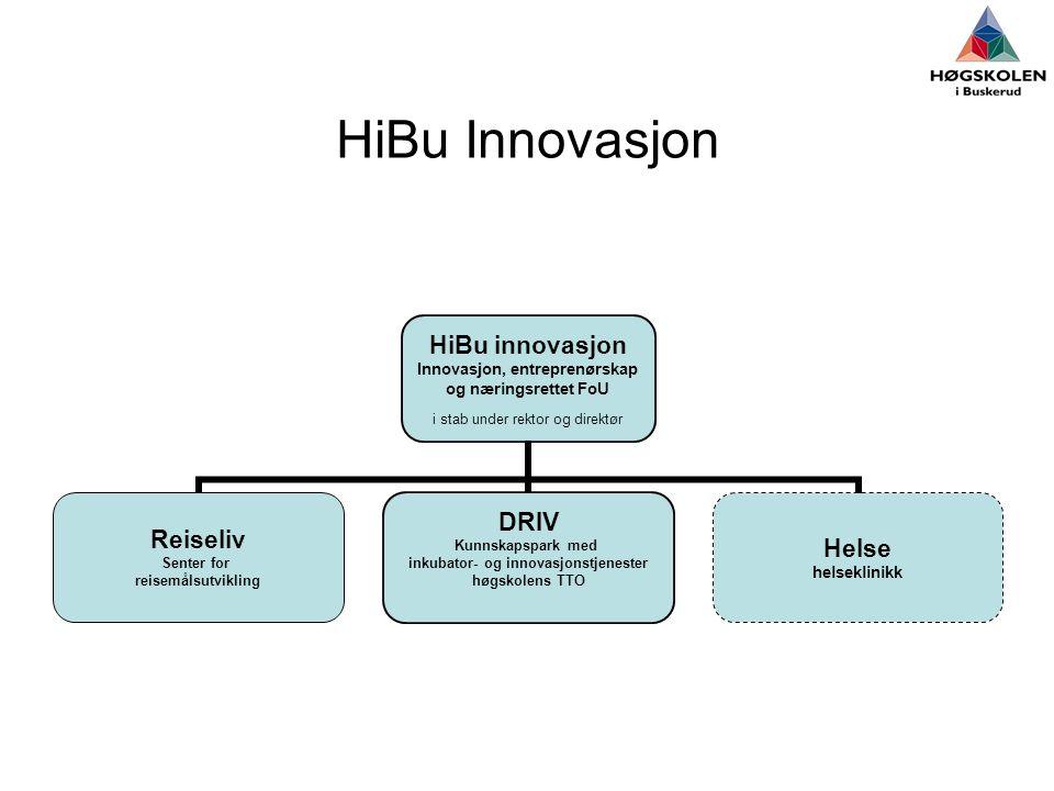 HiBu Innovasjon HiBu innovasjon Innovasjon, entreprenørskap og næringsrettet FoU i stab under rektor og direktør Reiseliv Senter for reisemålsutvikling DRIV Kunnskapspark med inkubator- og innovasjonstjenester høgskolens TTO Helse helseklinikk