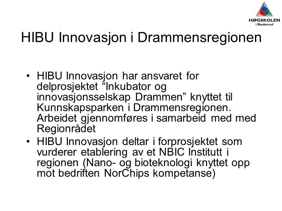 HIBU Innovasjon i Drammensregionen •HIBU Innovasjon har ansvaret for delprosjektet Inkubator og innovasjonsselskap Drammen knyttet til Kunnskapsparken i Drammensregionen.