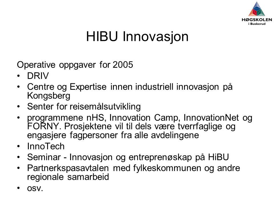 HIBU Innovasjon Operative oppgaver for 2005 •DRIV •Centre og Expertise innen industriell innovasjon på Kongsberg •Senter for reisemålsutvikling •programmene nHS, Innovation Camp, InnovationNet og FORNY.