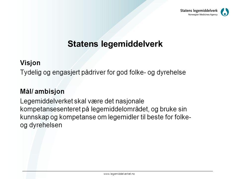 www.legemiddelverket.no Statens legemiddelverk Visjon Tydelig og engasjert pådriver for god folke- og dyrehelse Mål/ ambisjon Legemiddelverket skal væ