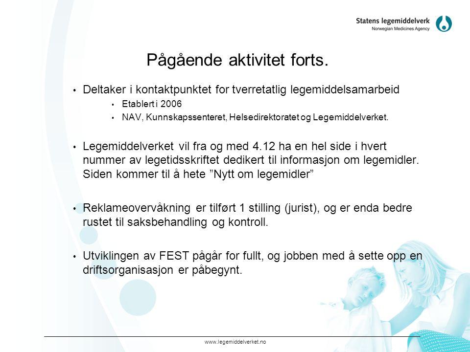www.legemiddelverket.no Pågående aktivitet forts.