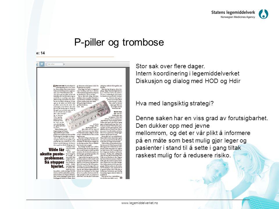 www.legemiddelverket.no P-piller og trombose Stor sak over flere dager.