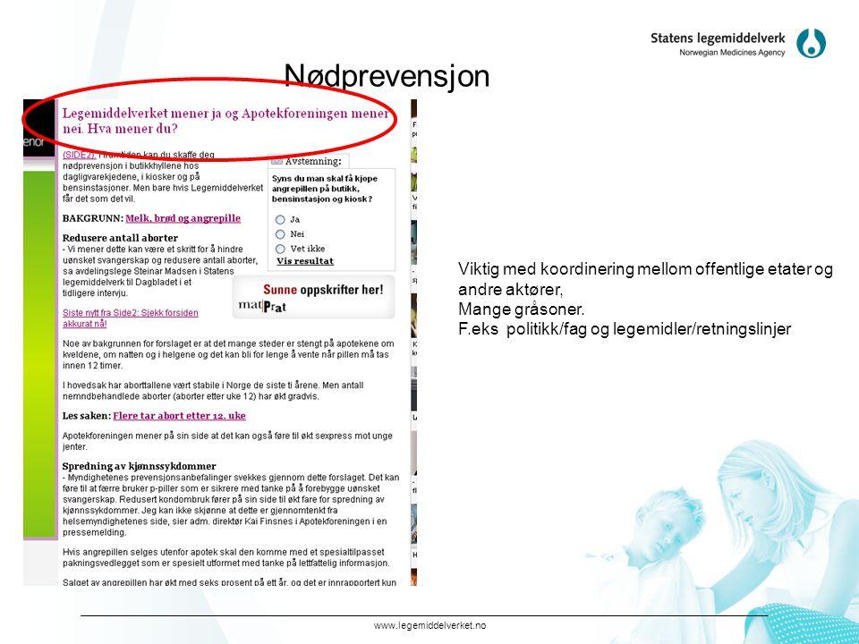 www.legemiddelverket.no Nødprevensjon Viktig med koordinering mellom offentlige etater og andre aktører, Mange gråsoner. F.eks politikk/fag og legemid