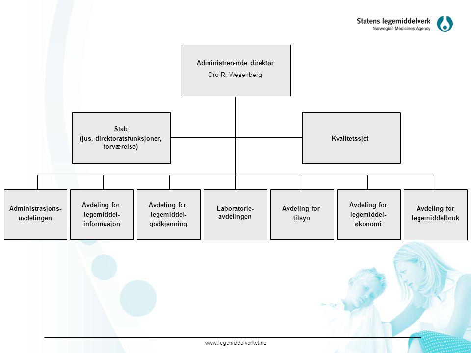 www.legemiddelverket.no Administrerende direktør Gro R. Wesenberg Administrasjons- avdelingen Avdeling for legemiddel- godkjenning Avdeling for legemi
