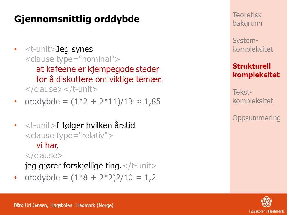 Bård Uri Jensen, Høgskolen i Hedmark (Norge) Teoretisk bakgrunn System- kompleksitet Strukturell kompleksitet Tekst- kompleksitet Oppsummering Gjennom