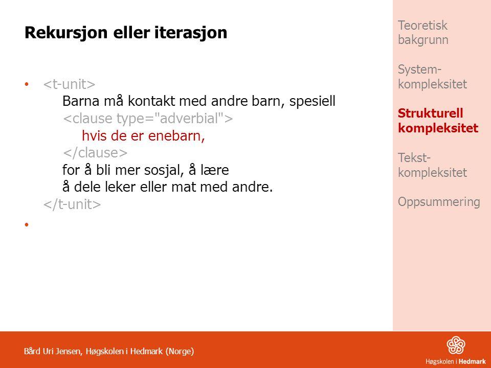 Bård Uri Jensen, Høgskolen i Hedmark (Norge) Teoretisk bakgrunn System- kompleksitet Strukturell kompleksitet Tekst- kompleksitet Oppsummering Rekursj