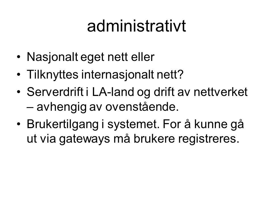 administrativt •Nasjonalt eget nett eller •Tilknyttes internasjonalt nett.