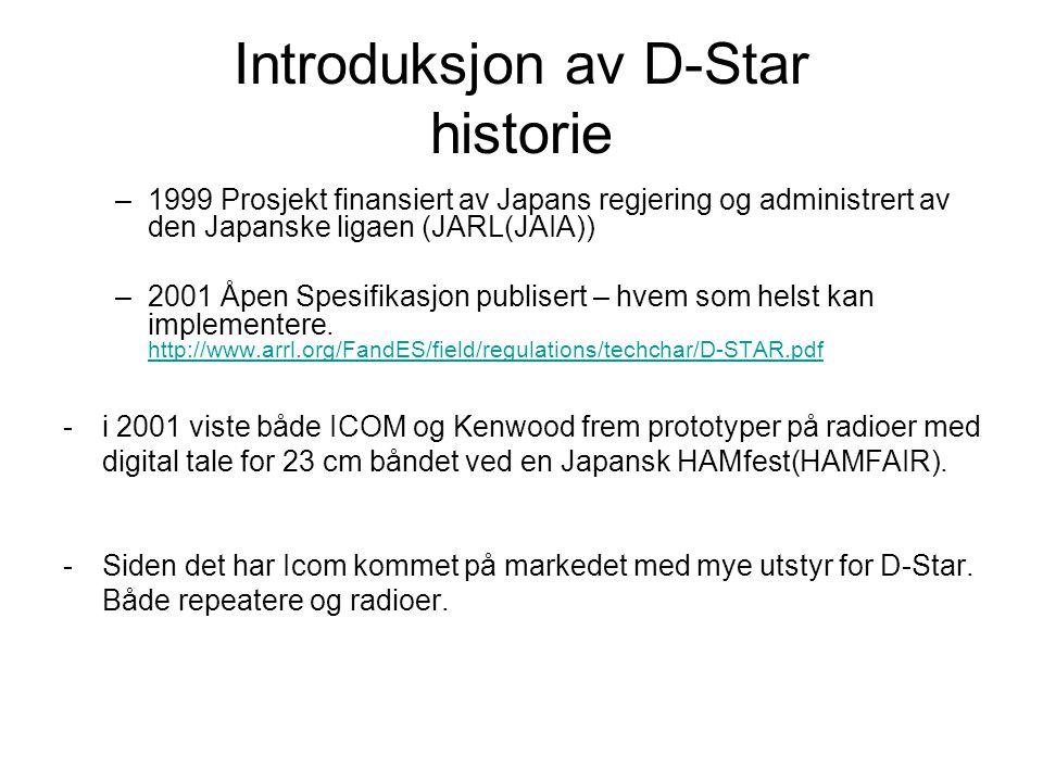 Introduksjon av D-Star historie –1999 Prosjekt finansiert av Japans regjering og administrert av den Japanske ligaen (JARL(JAIA)) –2001 Åpen Spesifikasjon publisert – hvem som helst kan implementere.