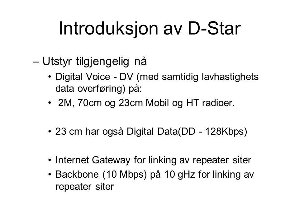 Introduksjon av D-Star –Utstyr tilgjengelig nå •Digital Voice - DV (med samtidig lavhastighets data overføring) på: • 2M, 70cm og 23cm Mobil og HT radioer.