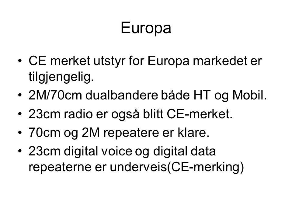 Europa •CE merket utstyr for Europa markedet er tilgjengelig.