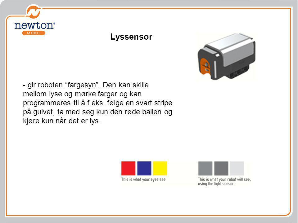 """Lyssensor - gir roboten """"fargesyn"""". Den kan skille mellom lyse og mørke farger og kan programmeres til å f.eks. følge en svart stripe på gulvet, ta me"""