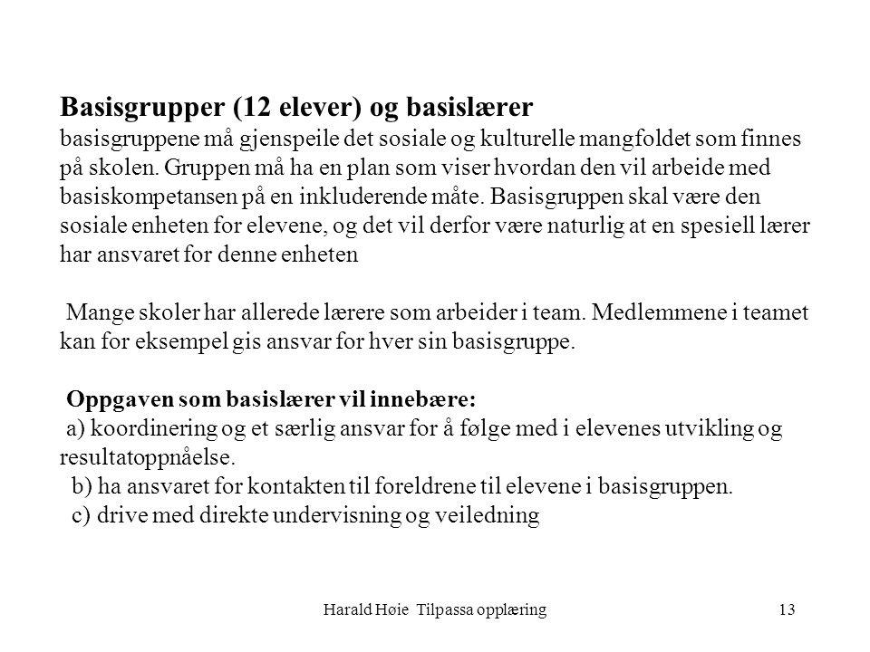 Harald Høie Tilpassa opplæring13 Basisgrupper (12 elever) og basislærer basisgruppene må gjenspeile det sosiale og kulturelle mangfoldet som finnes på skolen.