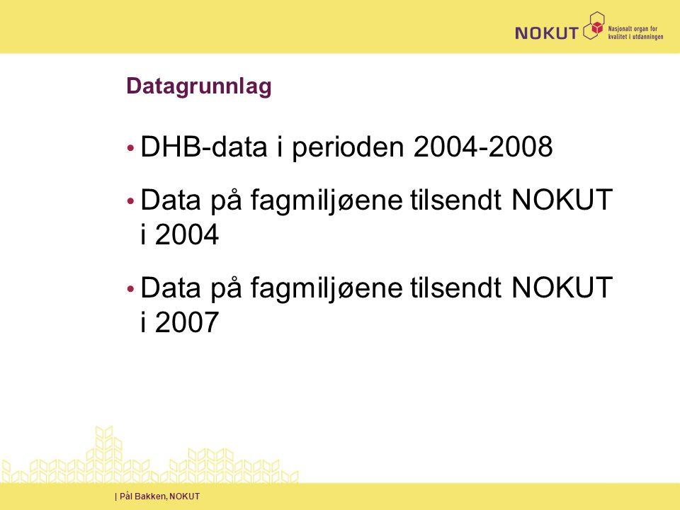 | Pål Bakken, NOKUT Datagrunnlag • DHB-data i perioden 2004-2008 • Data på fagmiljøene tilsendt NOKUT i 2004 • Data på fagmiljøene tilsendt NOKUT i 2007
