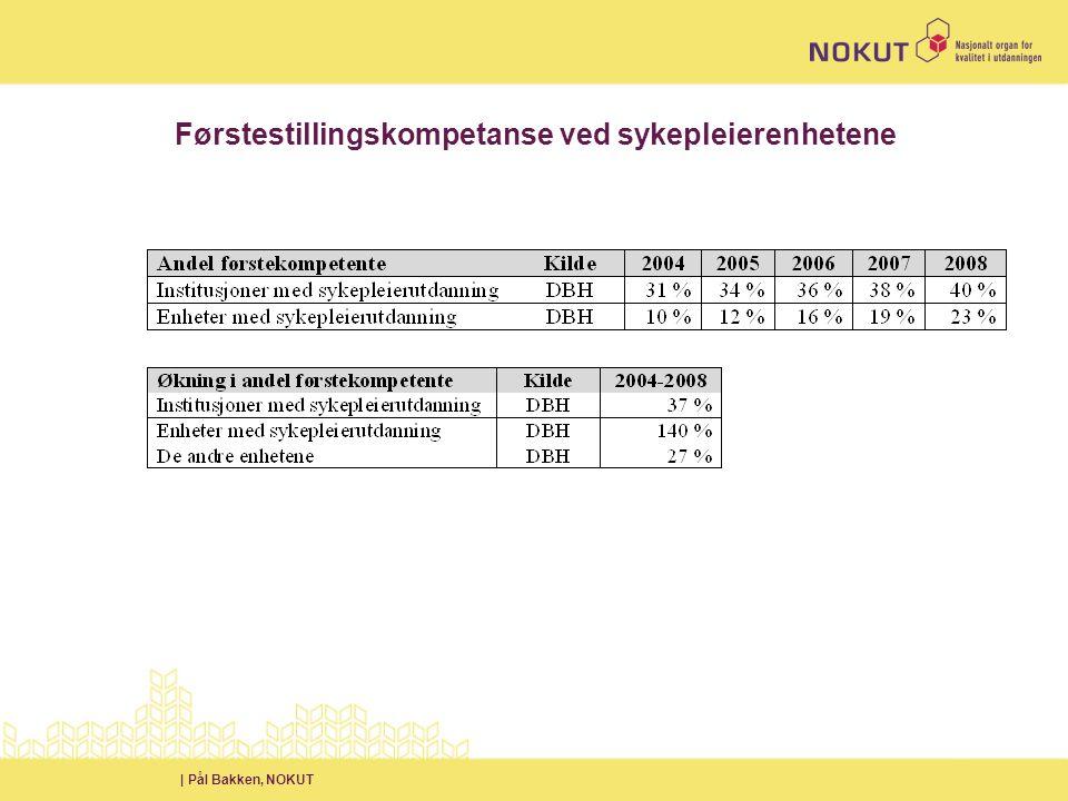 | Pål Bakken, NOKUT Førstestillingskompetanse ved sykepleierenhetene