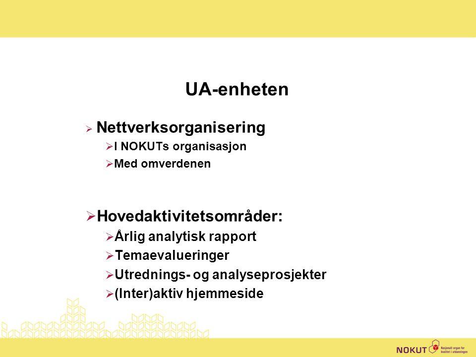 UA-enheten  Nettverksorganisering  I NOKUTs organisasjon  Med omverdenen  Hovedaktivitetsområder:  Årlig analytisk rapport  Temaevalueringer  Utrednings- og analyseprosjekter  (Inter)aktiv hjemmeside