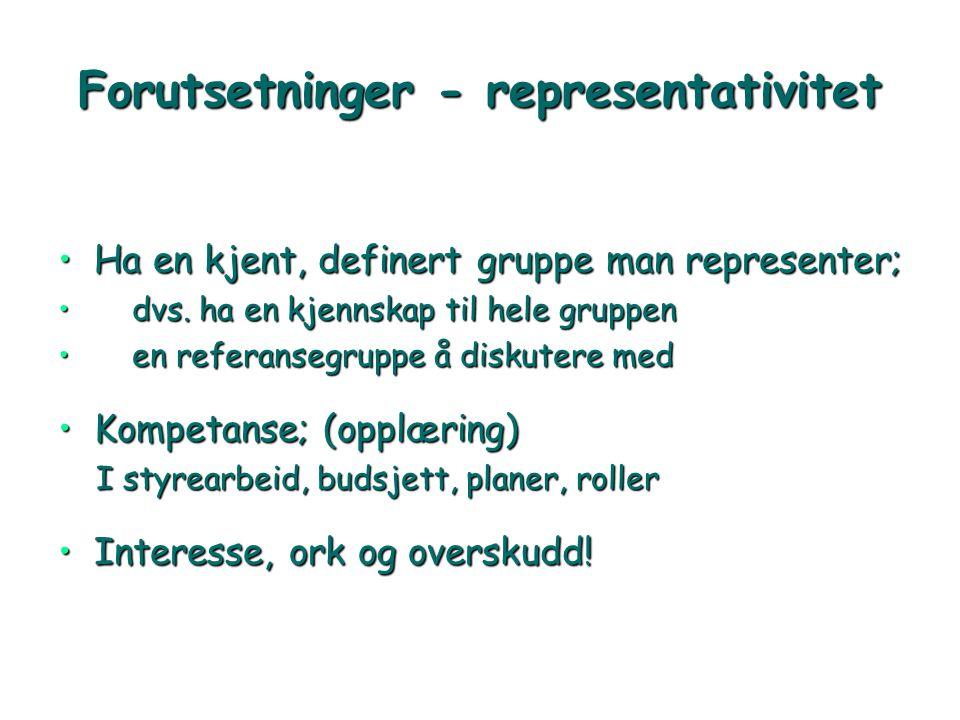 Forutsetninger - representativitet •Ha en kjent, definert gruppe man representer; • dvs. ha en kjennskap til hele gruppen • en referansegruppe å disku