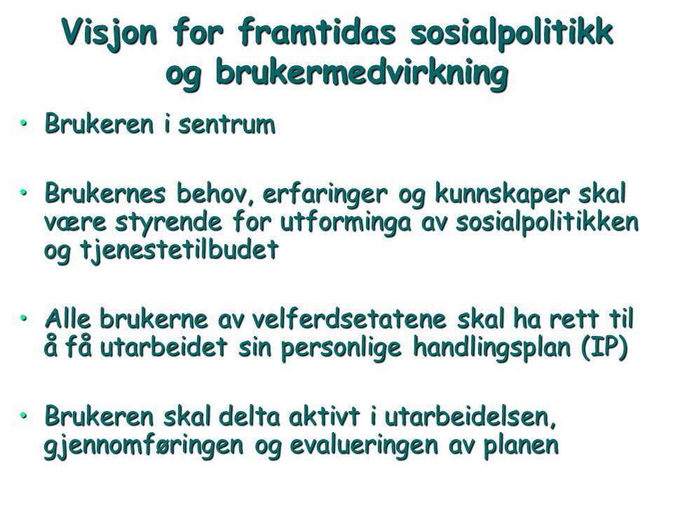 Visjon for framtidas sosialpolitikk og brukermedvirkning •Brukeren i sentrum •Brukernes behov, erfaringer og kunnskaper skal være styrende for utformi