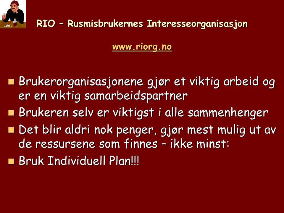 RIO – Rusmisbrukernes Interesseorganisasjon www.riorg.no www.riorg.no  Brukerorganisasjonene gjør et viktig arbeid og er en viktig samarbeidspartner