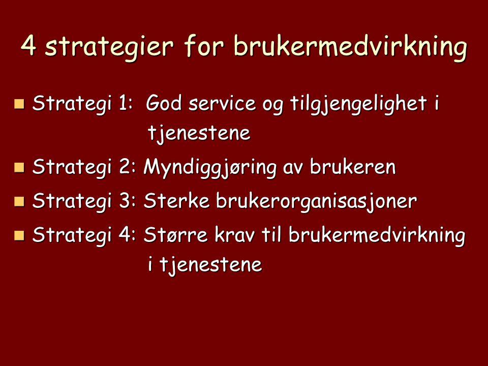 4 strategier for brukermedvirkning  Strategi 1: God service og tilgjengelighet i tjenestene  Strategi 2: Myndiggjøring av brukeren  Strategi 3: Ste