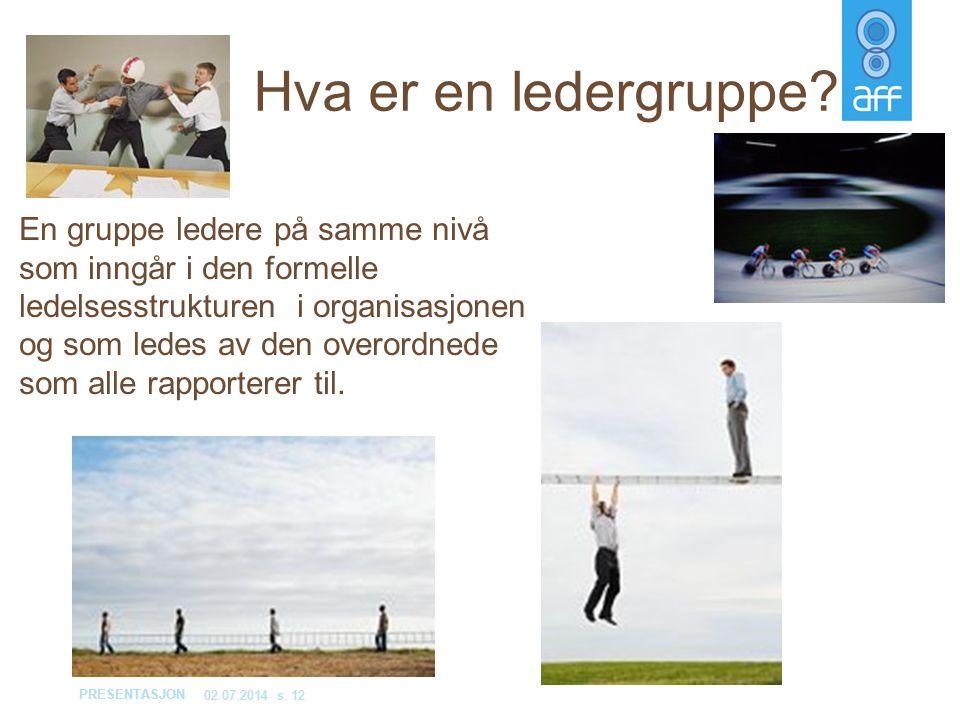 PRESENTASJON 02.07.2014s. 12 Hva er en ledergruppe? En gruppe ledere på samme nivå som inngår i den formelle ledelsesstrukturen i organisasjonen og so