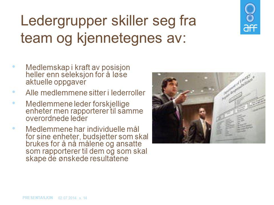 PRESENTASJON 02.07.2014s. 14 Ledergrupper skiller seg fra team og kjennetegnes av: • Medlemskap i kraft av posisjon heller enn seleksjon for å løse ak