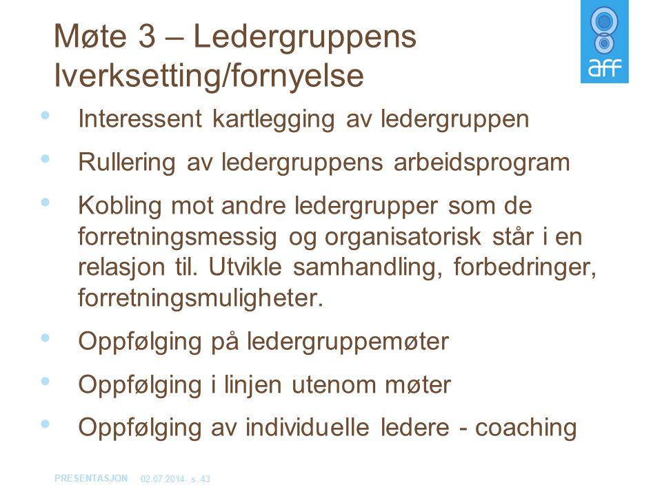 PRESENTASJON 02.07.2014s. 43 • Interessent kartlegging av ledergruppen • Rullering av ledergruppens arbeidsprogram • Kobling mot andre ledergrupper so