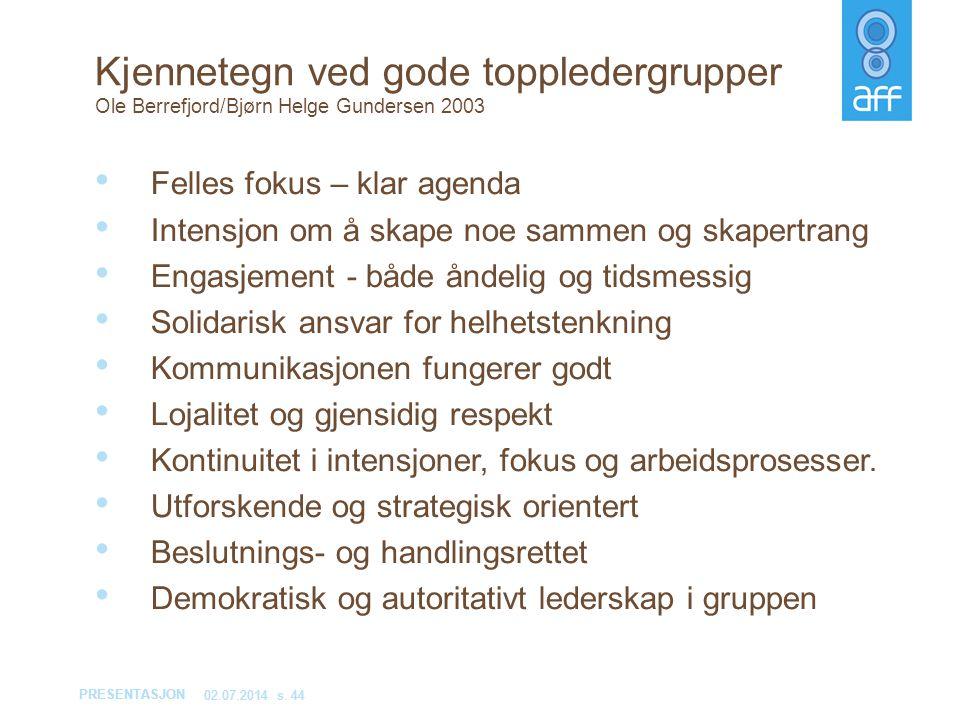 PRESENTASJON 02.07.2014s. 44 Kjennetegn ved gode toppledergrupper Ole Berrefjord/Bjørn Helge Gundersen 2003 • Felles fokus – klar agenda • Intensjon o