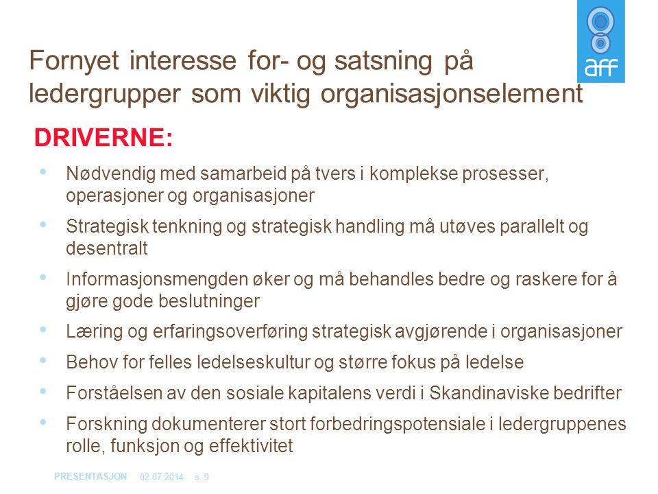 PRESENTASJON 02.07.2014s. 9 Fornyet interesse for- og satsning på ledergrupper som viktig organisasjonselement • Nødvendig med samarbeid på tvers i ko